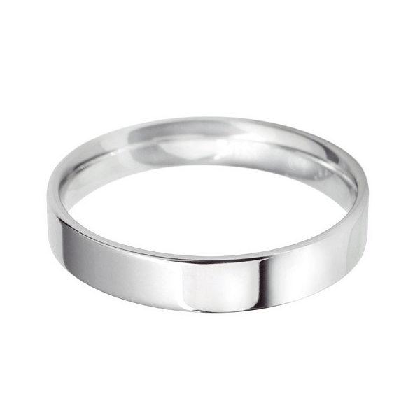 Platinum - 4mm Standard Weight Flat Court Wedding Ring (Groom Sizes)
