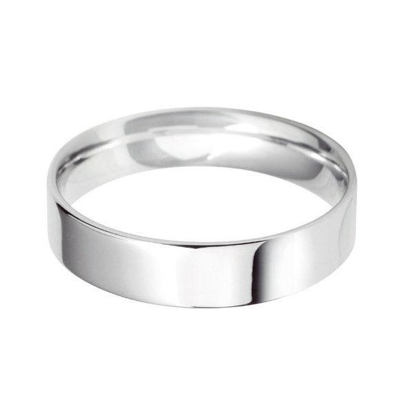 Platinum - 5mm Standard Weight Flat Court Wedding Ring